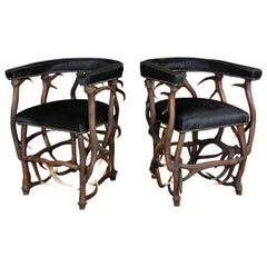 Pair of Original Design Antler Horn Armchairs