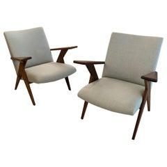 Pair of Original Early Brazilian Jose Zanine Caldas Lounge Chairs