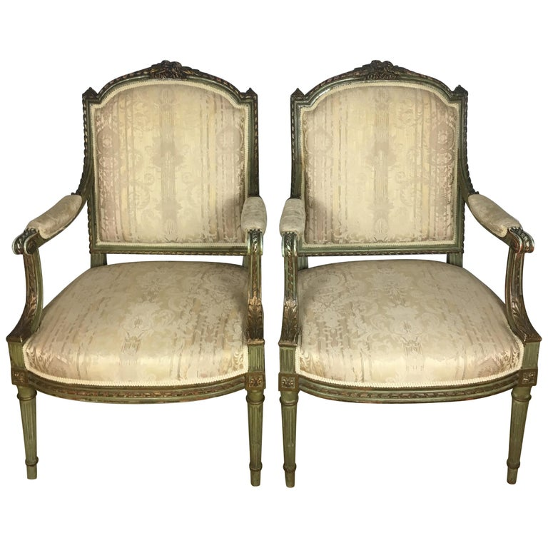 Pair of French Louis XVI Armchairs For Sale