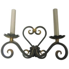 Pair of Original French Verde Green and Gilt Hand Forged Iron Sconces