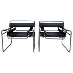 Pair of Original Gavina Wassily Chairs by Marcel Breuer in Black Leather