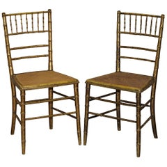 Pair of Original Giltwood Famboo Regency Berger Chairs with Period Gold Gilding