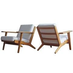 Pair of Hans Wegner GE290 Plank Lounge Chairs for GETAMA