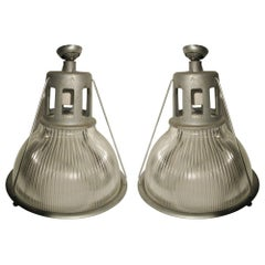 Pair of Original Holophane Industrial Pendant Lamps, circa 1940