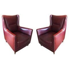 Pair of Original Italian Bordeaux Armchairs in Leather, 1940s