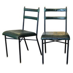 Pair of Original Jacques Adnet Chairs, 1950s