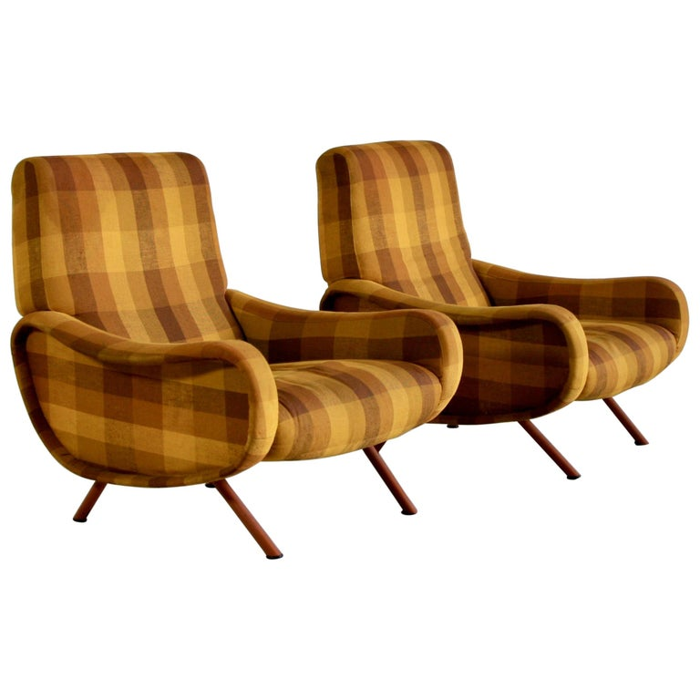 Pair of Original Lady Armchairs by Marco Zanuso, Arflex Italy For Sale