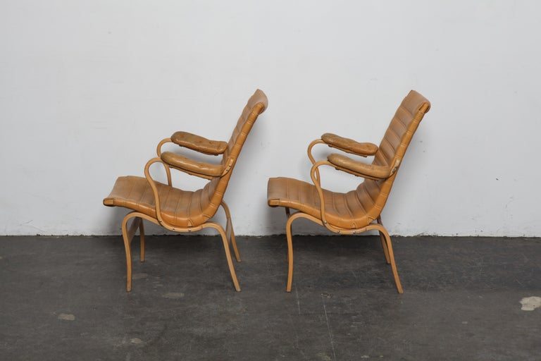 Mid-Century Modern Pair of Original Leather Bruno Mathsson 'Eva' Chairs for DUX, Sweden, 1960s For Sale