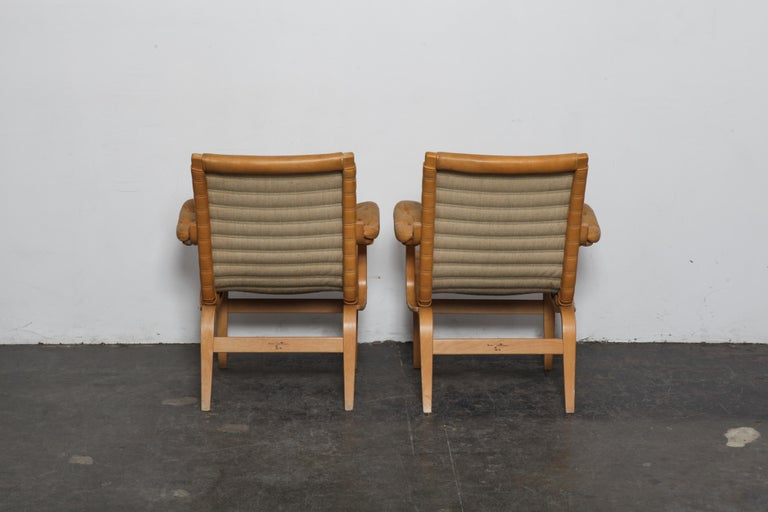 Swedish Pair of Original Leather Bruno Mathsson 'Eva' Chairs for DUX, Sweden, 1960s For Sale