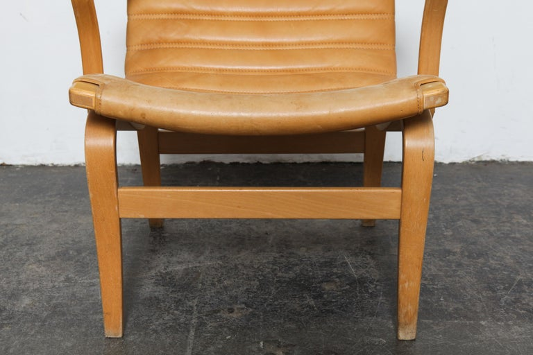 Pair of Original Leather Bruno Mathsson 'Eva' Chairs for DUX, Sweden, 1960s For Sale 1