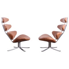 Pair of Original Leather Corona Chairs by Poul Volther