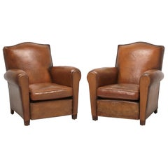 Pair of Original Leather French Club Chairs Restored Internally with Horsehair