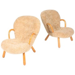 Pair of Original Midcentury Clam Chairs by Philip Arctander, Danish, 1940s