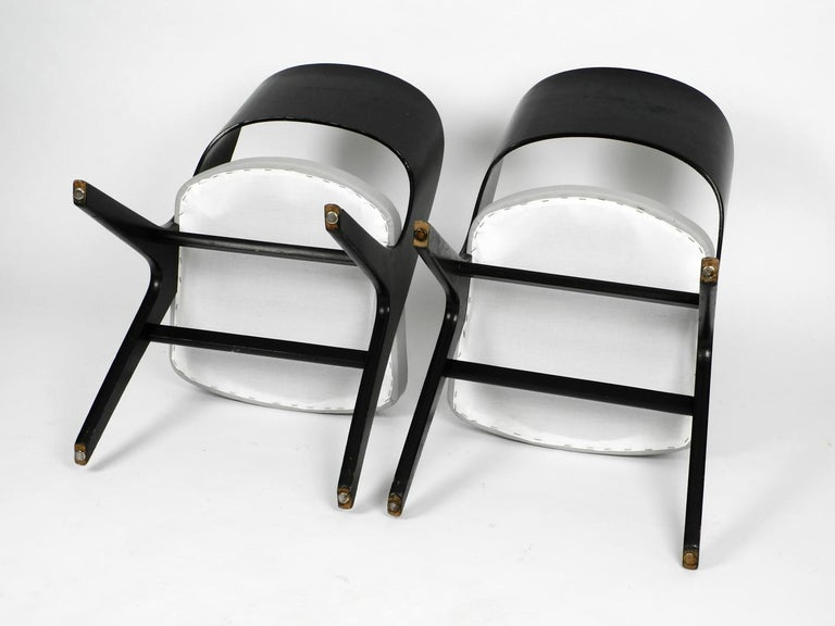 Pair of Original Mid-Century Modern Black and Grey Chair, Carl Sasse for Casala For Sale 4