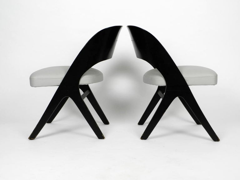 German Pair of Original Mid-Century Modern Black and Grey Chair, Carl Sasse for Casala For Sale