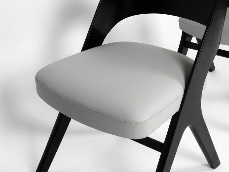 Wood Pair of Original Mid-Century Modern Black and Grey Chair, Carl Sasse for Casala For Sale
