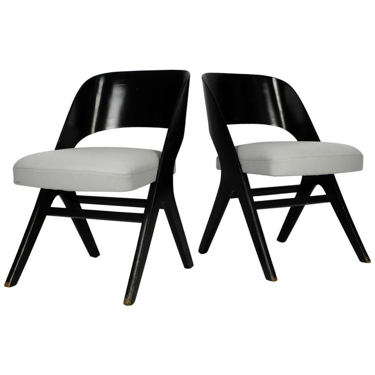 Pair of Original Mid-Century Modern Black and Grey Chair, Carl Sasse for Casala For Sale