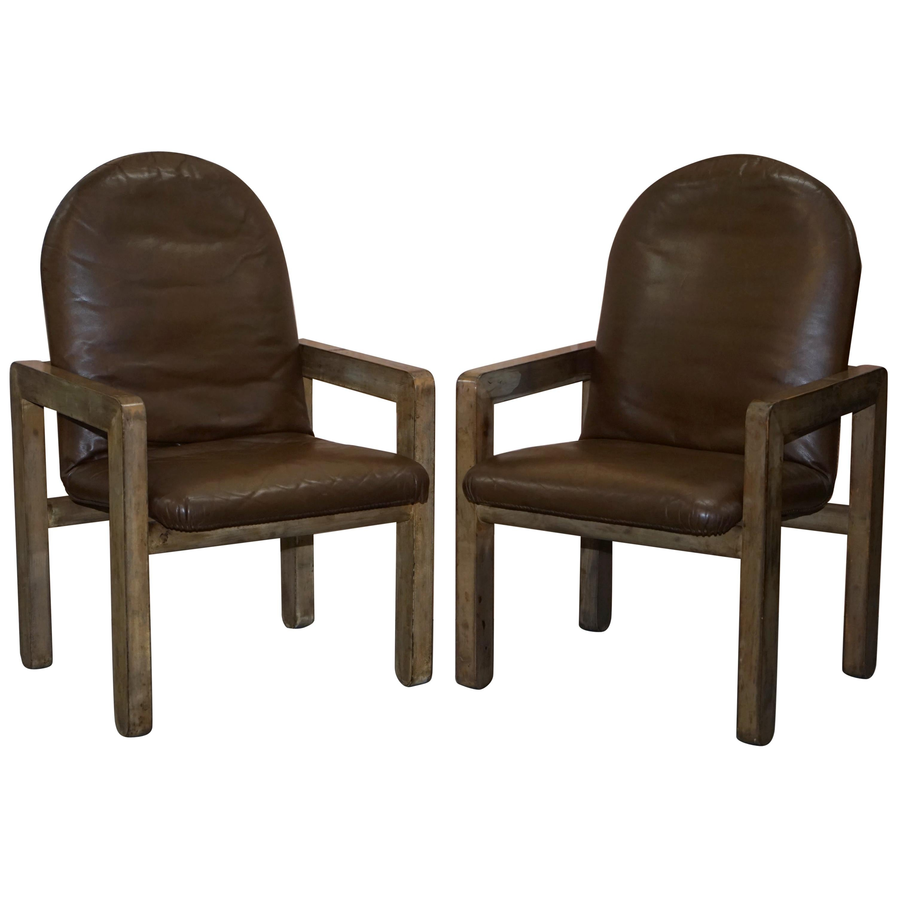 Pair of Original Midcentury Vintage Aged Brown Leather John Makepeace Armchairs