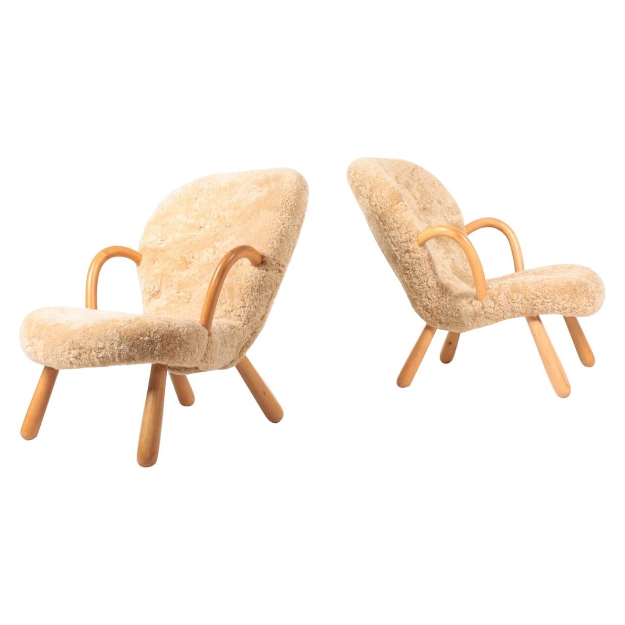 Pair of Original Midcentury Clam Chairs, Made in Denmark, 1940s