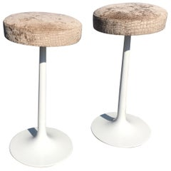 Pair of Original Midcentury Swivel Tulip Bar Stools, Style of Eero Saarinen