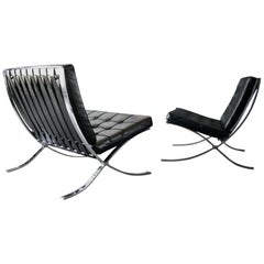 Pair of Original Mies Van Der Rohe Barcelona Chairs with Ottoman for Knoll