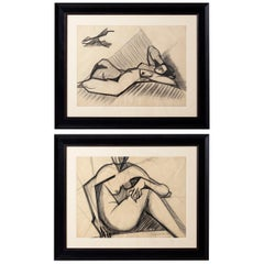 Pair of Original Nude Drawings by Marceau Constantin