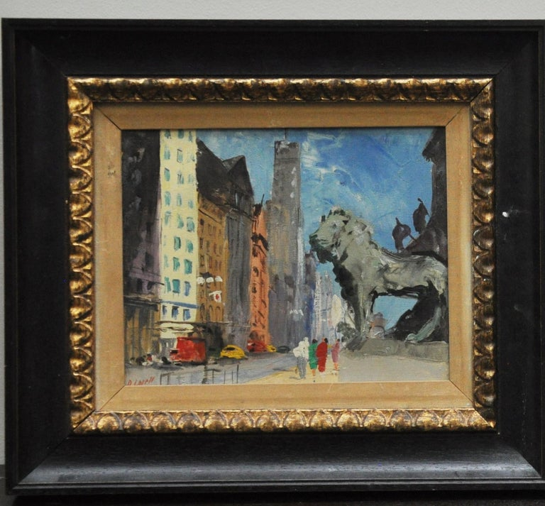 American Pair of Original Oil Paintings of Chicago Icons For Sale