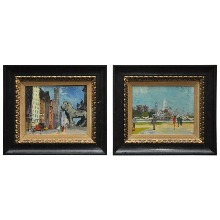 Pair of Original Oil Paintings of Chicago Icons For Sale