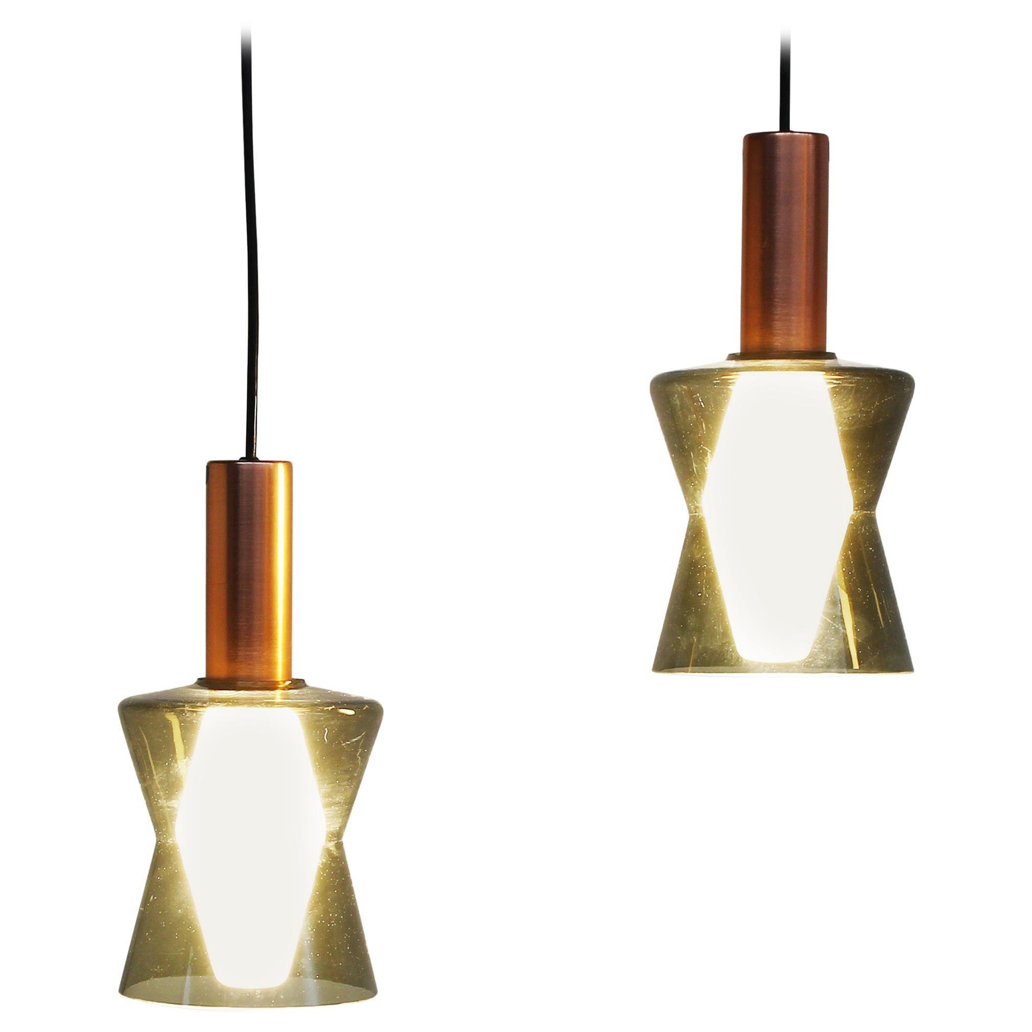Pair of Original Old Idman Oy Ceiling Lamps Pendants by Tapio Wirkkala