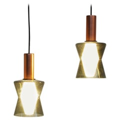 Pair of Original Old Idman Oy Ceiling Lamps Pendants by Tapio Wirkkala