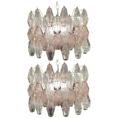 Pair of Original Poliedri Chandelier by Carlo Scarpa for Venini, Murano, 1960s