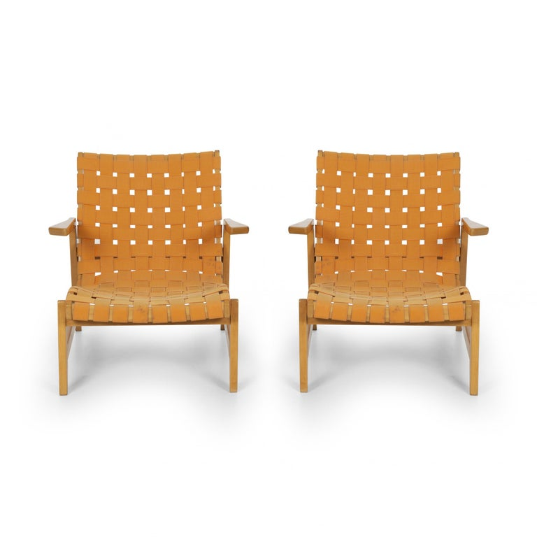 Pair of Rare Historical Original Ralph Rapson Greenbelt lounge chairs 1945, One of the first designs by H.G. Knoll Webbing replaced 20 years ago, faded. Solid Birch-Wood.