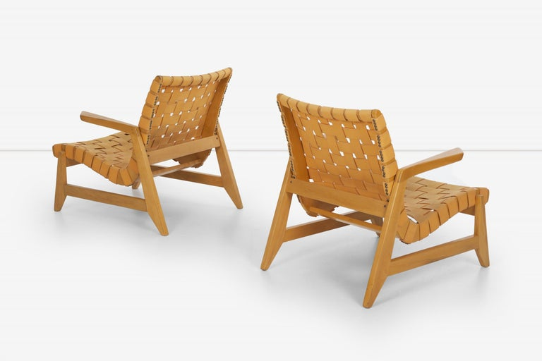 Canvas Pair of Rare Historical Original Ralph Rapson Greenbelt Lounge Chairs 1945 For Sale