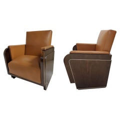 Pair of Original, Rare French Art Deco Rosewood Cubist Arm/ Club Chairs