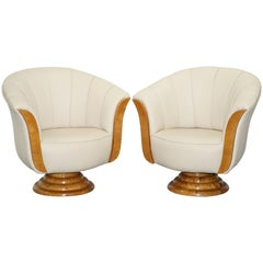 Pair of Original Restored Art Deco Tulip Armchairs Cream Leather Maple