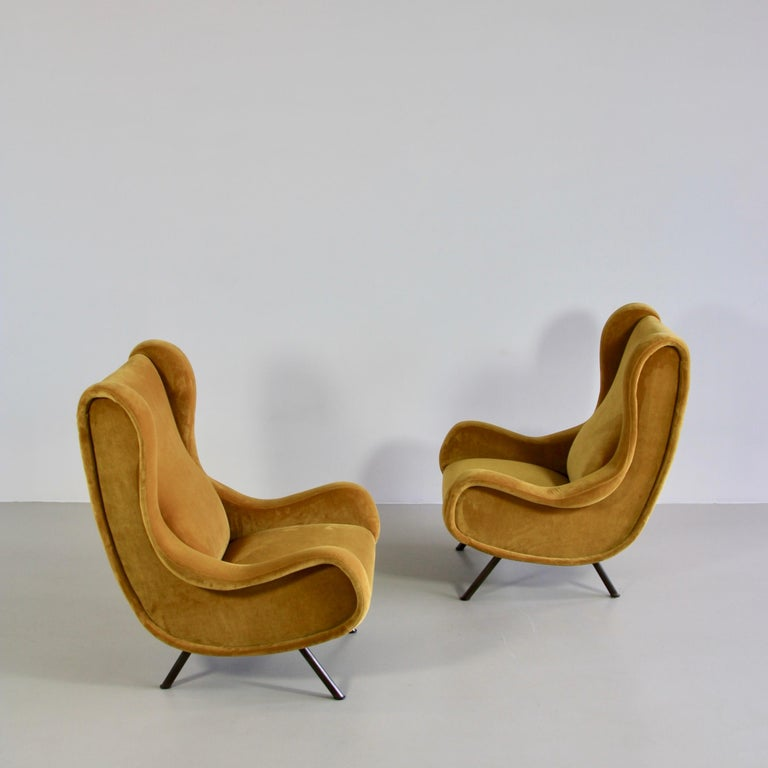Modern Pair of Original Senior Armchairs by Marco Zanuso, Arflex, Italy For Sale
