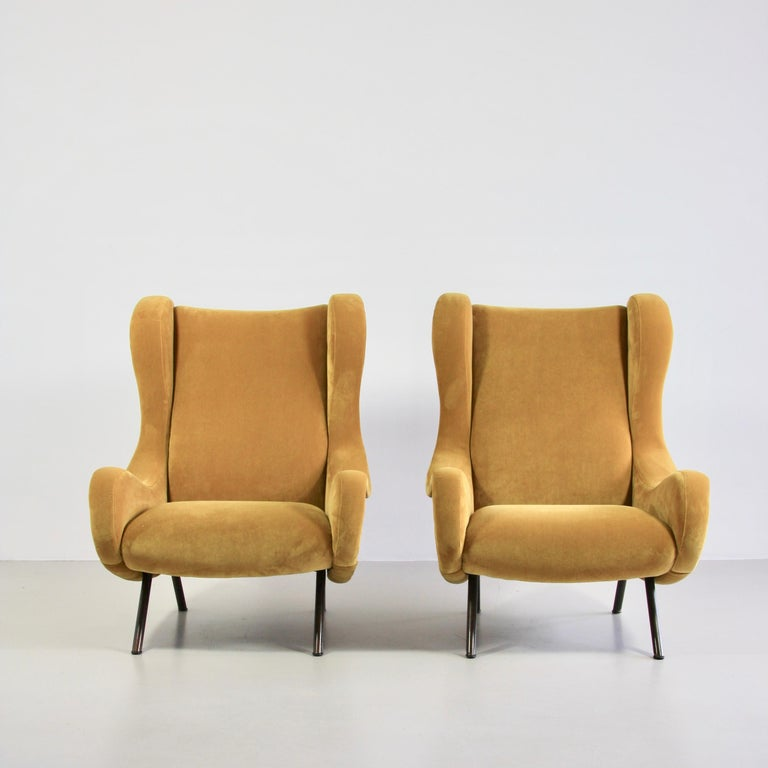 Pair of Original Senior Armchairs by Marco Zanuso, Arflex, Italy For Sale 1