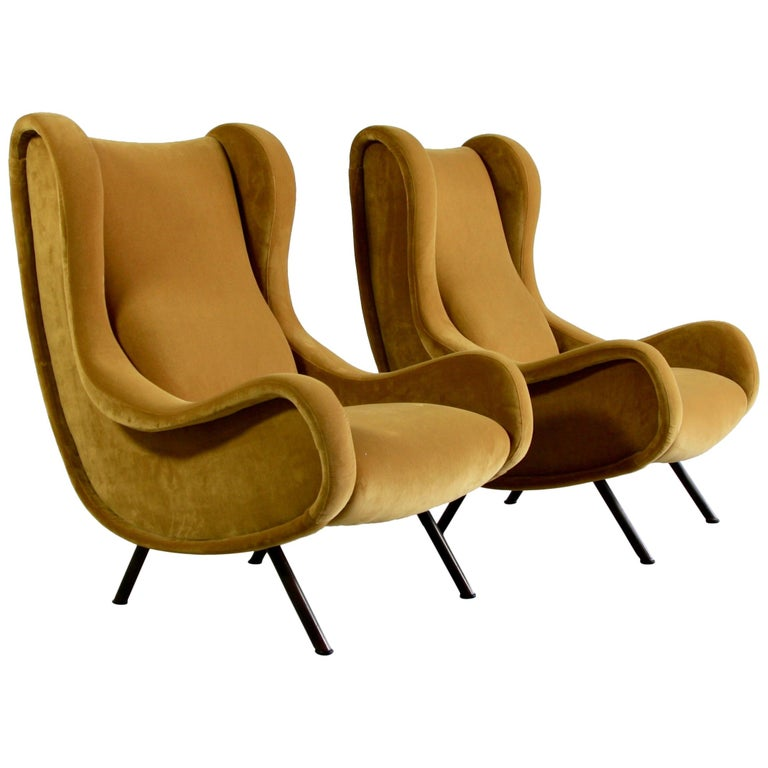 Pair of Original Senior Armchairs by Marco Zanuso, Arflex, Italy For Sale