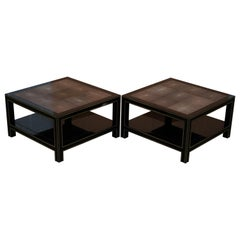 Pair of Original Shagreen Gilt Metal Large Side Coffee End Tables