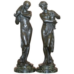 Pair of Original Signed Henri Dumaige 1830-1888 Bronze Statues Water Carriers
