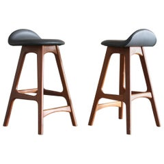 Pair of Original Teak Bar Stools, Counter Height, Danish Modern by Erik Buch
