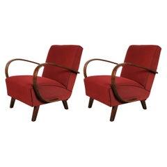 Pair of Original Upholstery Jindrich Halabala Armchairs, circa 1930