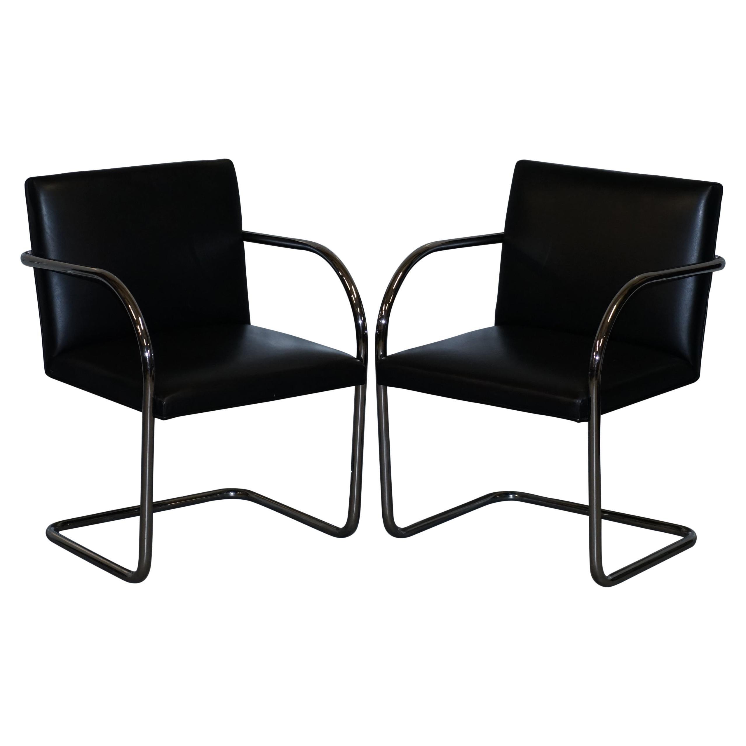 Pair of Original Vintage Black Leather & Chrome Walter Knoll Brno Armchairs