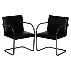 Pair of Original Vintage Black Leather & Chrome Walter Knoll Brno Armchairs