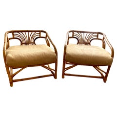 Pair of Original Vintage Brown Jordan Bent Rattan Armchairs
