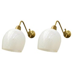 Pair of Original Vintage Italian Sconces w/ Clear and White Murano Glasses c1960