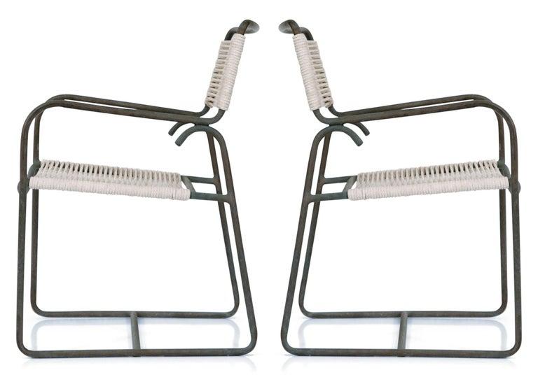Pair of Original Walter Lamb for Brown Jordan Armchairs, New Cording, circa 1959 For Sale 11