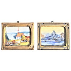 Pair of Original Willard Morse 'William' Mitchell Framed Watercolor Paintings