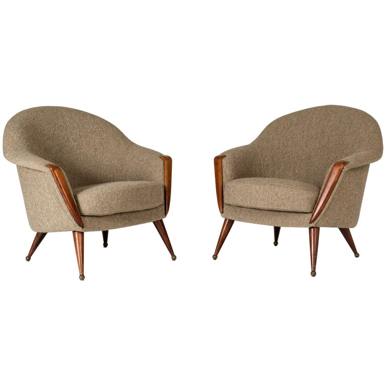 "Pair of ""Orion"" Lounge Chairs by Folke Jansson For Sale"