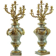 Pair of Ormolu and Marble Seven-Light Candelabras Attributed to Eugène Cornu